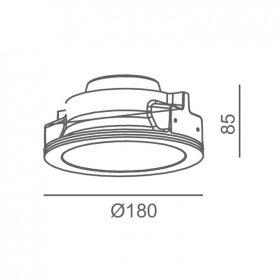 Empotrado escayola Ø180mm 9W 810lm blanco cálido Vimperga